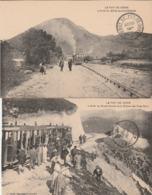 2 CPA:TRAIN ARRÊT DU GRAND ROCHER ET CHAINE DES PUYS NORD,TRAIN ARRÊT DU BOIS DES CHARMES (63) - France