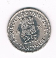 25 CENTIMOS 1978 VENEZUELA /8292/ - Venezuela
