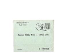 Lettre Avec Repiquage Privé Aff Du 15c Semeuse Lignée N° 130, Obl TaD Hexagonal Type E4 Avec Mention Départ Du 11.01.09. - 1903-60 Semeuse Lignée