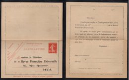 FRANCE - TYPE SEMEUSE / 1911 ENTIER POSTAL REPIQUE - REVUE FINANCIERE UNIVERSELLE (ref LE3762) - Ganzsachen