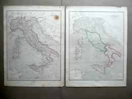 Due Carte Geografiche Italia Antica E Unita Pagnoni Milano Fine Ottocento - Altre Collezioni