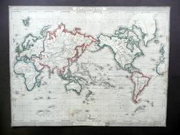 Planisfero Carta Geografica Civelli Milano Metà Ottocento Colorazione D'Epoca - Altre Collezioni