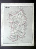 Carta Geografica Originale Sardegna Pagnoni Milano 1840-50 Colorazione D'Epoca - Altre Collezioni