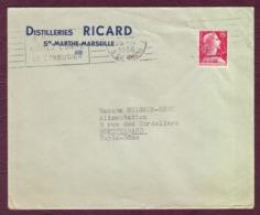 FRANCE - Lettre Entête DISTILLERIE RICARD Oblit. 25/04/1956 - Francia