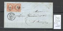 France -Lettre - Yvert 16 X 2 - Affranchissement à 80 Cts  - Pc 2614 - Quingey - Doubs - - Marcophilie (Lettres)