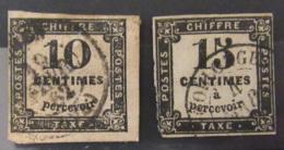 France - Période Classique - Timbres Taxe 10c Et 15c N°2 Et N°3 Oblitérés - Postage Due