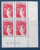 "FR Coins Datés YT 2155 "" Sabine 1F60 Rouge "" Neuf** Du 9.7.81 - 1980-1989"