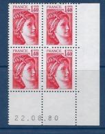 "FR Coins Datés YT 2102 "" Sabine 1F40 Rouge "" Neuf** Du 2.08.80 - 1980-1989"