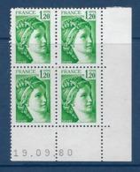 """FR Coins Datés YT 2101 """" Sabine 1F20 Vert """" Neuf** Du 19.09.80 - 1980-1989"""
