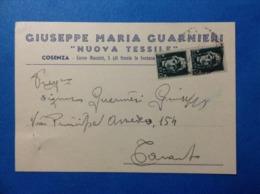 1943 CARTOLINA PUBBLICITARIA GIUSEPPE MARIA GUARNIERI NUOVA TESSILE COSENZA - Pubblicitari