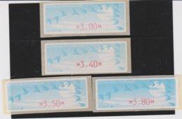 France 4 Vignettes Distributeur Type C DIVA  N°YT 212 - 3,00 3,40 3,50 3,80 - 1990 Type «Oiseaux De Jubert»