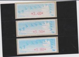 France 3 Vignettes Distributeur Type C DIVA  N°YT 212 - 3,40 3,50 3,80 - 1990 «Oiseaux De Jubert»