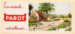 Buvard Parot, Eau Minérale. Scène De Campagne, Troupeau D'oies, Enfants, Chaumières. - Alimentaire