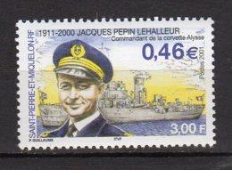 Saint-Pierre Et Miquelon Yvert N° 756 Neuf Commandant Jacques Pépin Lehalleur Lot 23-61 - Ungebraucht