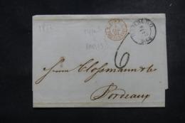 """FRANCE / ALLEMAGNE - Cachet D'entrée """" Tour T. / Valenciennes 2 """" En Rouge Sur Lettre De Hambourg En 1852 - L 45775 - Marcofilia (sobres)"""