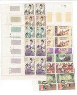 TP LAOS - ASIE - 1957 - POSTE AERIENNE N° 24 à 26 - 28 à 34** MNH - EN BLOC DE 4 COINS DATES - Laos