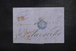 """FRANCE / ALLEMAGNE - Cachet D'entrée """" Prusse / Erquelines 3 """" En Bleu Sur Lettre En 1867 - L 45776 - Storia Postale"""