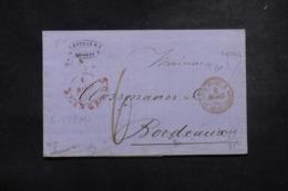 """FRANCE / ITALIE - Cachet D'entrée """" Tosc. / PT. De Beauvoisin 2 """" En Rouge Sur Lettre De Livorno En 1860 - L 45777 - Poststempel (Briefe)"""