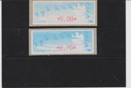 France 2 Vignettes Distributeur Type C DIVA  N°YT 212 - 5,00 6,70 - 1990 Type «Oiseaux De Jubert»