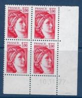 "FR Coins Datés YT 1972 "" Sabine 1F. Rouge "" Neuf** Du 10.11.77 - Dated Corners"