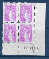 """FR Coins Datés YT 2120 """" Sabine 90c. Lilas-rose """" Neuf** Du 17.11.80 - 1980-1989"""