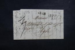 """FRANCE / ITALIE - Cachet D'entrée """" Italie Par Antibes """" Sur Lettre De Nice Pour Adge En 1834 - L 45780 - Poststempel (Briefe)"""