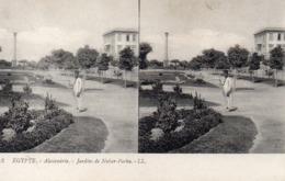 Carte Postale Stéréoscopique   égypte Alexandrie Jardins De Nubar Pacha - Stereoscopi