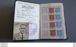GRAND ORIENT DE FRANCE : Franc Maçonnerie  _ CARTE  D'INDENTITE MACONNIQUE - Documents Historiques