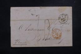 """FRANCE / ITALIE - Cachet D'entrée """" E. Pont. / Pont De Be. 2 """" En Rouge Sur Lettre De Bologna En 1860 - 45781 - Storia Postale"""