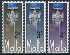 Malta 1967 ** 25 Aniversario De La Rendicion De La George Cross (3 Valores) 003 - Malte