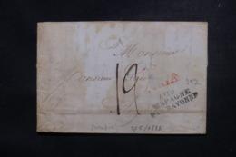 """FRANCE / ESPAGNE - Cachet D'entrée """" Espagne Par Bayonne """" Sur Lettre En 1822 Avec Entailles De Purification - L 45782 - Poststempel (Briefe)"""