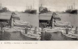 Carte Postale Stéréoscopique   égypte  Port Said  Le Débarcadere - Stereoscopi