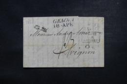 """FRANCE / ITALIE - Cachet D'entrée """" Italie Par Antibes"""" Sur Lettre De Genova En 1838 - L 45785 - Marques D'entrées"""