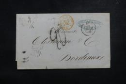 """FRANCE / ITALIE - Cachet D'entrée """" E. Pont. / Pont De B.""""  En Rouge Sur Lettre De Rome En 1854 - L 45786 - Poststempel (Briefe)"""