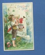 LIEBIG Allemande Jolie Chromo Jeunesse Heureuse Enfant Pot Lait Parapluie Rouleau Papier Champignons - Liebig