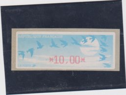 France 1 Vignette Distributeur Type C DIVA  N°YT 212 - 10,00 - 1990 Type «Oiseaux De Jubert»