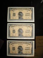 Ensemble De 3 Billets De 5 Francs - 1942- - Stati Centrafricani