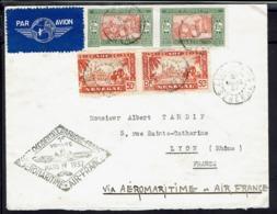 Sénégal - 1937 - 1er Voyage Aéromaritime Air-France - Affr. à à 3,50 F Sur Enveloppe De Zinguinchor Pour Lyon - B/TB - - Senegal (1887-1944)