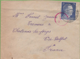 Lettre Avec Marque De Contrôle D'Allemagne Pour Chatenois-les Forges (90) Du 14/07/43 - Germany