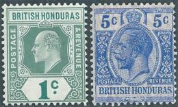 BRITISH HONDURAS,Honduras Britannico,1905-1911 King Edward VII,1C AND 1913 -1917,5C-MNH - Honduras Britannique (...-1970)