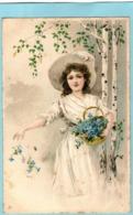 Jolie FILLE - Chapeau - Panier De Fleurs  - 1905  - (Carte Gaufrée) - Kinderen