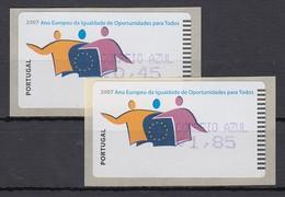 Portugal 2007 ATM Chancengleichheit Amiel Mi.-Nr. 60.2f  Satz AZUL 45-185 ** - Frankeervignetten (ATM/Frama)