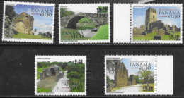 PANAMA, 2019, MNH, 500TH ANNIVERSARY OF OLD PANAMA, BRIDGES, CONVENTS, 5v, EMBOSSED STAMPS - Bridges