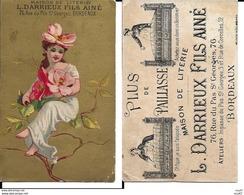CHROMOS. Maison De Literie. L. DARRIEUX FILS Ainé (Bordeaux). Jolie Femme Et Fleurs. ..I 446 - Otros