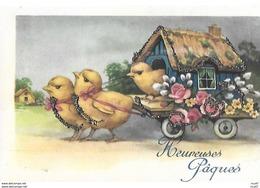 CPA  Joyeuses Pâques ,Poussins Tirant Une Roulotte, Fleurs Et Strass. ..I 344 - Pascua
