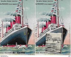 CPA Carte à SYSTEMES. Mon Souvenir Du Havre Le FRANCE  (76) (10 Photos Intérieurs). .CO 005 - Paquebots