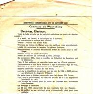 Commune De Wannebecq  Elections Communales Du 16 Octobre 1938 - Collections