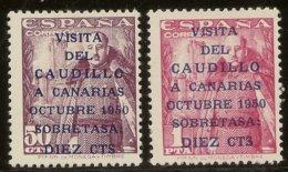 Edifil 1083A/1083B* Mh Visita Caudillo Canarias  Serie Completa  1950   NL1484 - 1931-50 Nuevos & Fijasellos