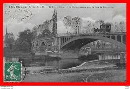 CPA (77) BRAY-sur-SEINE.  Le Pont, Départ De La Correspondance Pour La Gare De Longueville, Attelage Diligence...H1023 - Bray Sur Seine