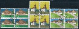 Zumstein 1128-1130 / Michel 1186-1188 Viererblockserie Mit ET-Zentrumstempel - Used Stamps